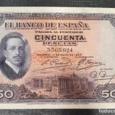 Billetes españoles: BILLETE 50 PESETAS 1927 SIN RESELLO . Lote 195410495