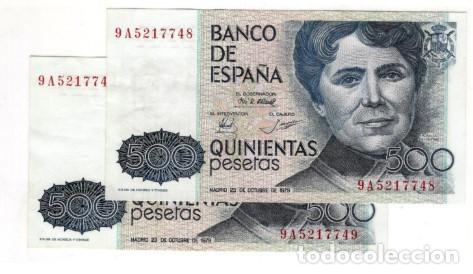 PAREJA CORRELATIVA DE 500 PESETAS DE 1979 SERIE ESPECIAL 9A, SIN CIRCULAR/PLANCHA (Numismática - Notafilia - Billetes Españoles)
