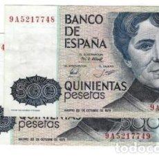 Billetes españoles: PAREJA CORRELATIVA DE 500 PESETAS DE 1979 SERIE ESPECIAL 9A, SIN CIRCULAR/PLANCHA. Lote 195436685