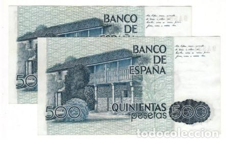 Billetes españoles: Pareja correlativa de 500 pesetas de 1979 serie especial 9A, sin circular/plancha - Foto 2 - 195436685