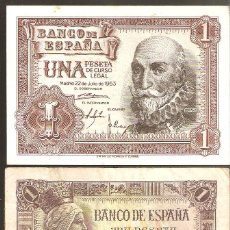 Billetes españoles: ESTADO ESPAÑOL, LOTE DE 2 BILLETES: 1 PÈSETA DE 1945 + OTRA DE 1953 - USADAS.. Lote 195439117
