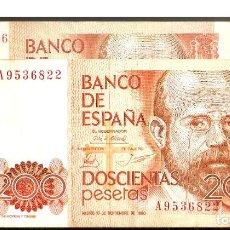 Billetes españoles: JUAN CARLOS I, LOTE DE 2 BILLETES: 200 PESETAS DE 1980 SERIES 9A (ESCASA) Y SERIE A9.. Lote 195439396