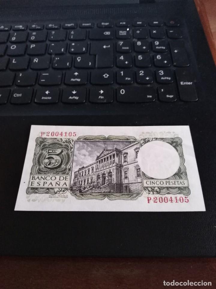 Billetes españoles: BILLETE DE 5 PESETAS EMISIÓN 22 JULIO 1954 SERIE P SIN CIRCULAR - Foto 2 - 195447781