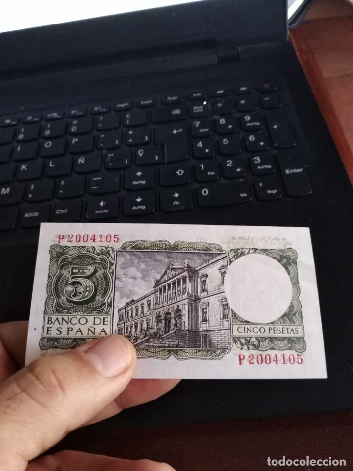 Billetes españoles: BILLETE DE 5 PESETAS EMISIÓN 22 JULIO 1954 SERIE P SIN CIRCULAR - Foto 4 - 195447781