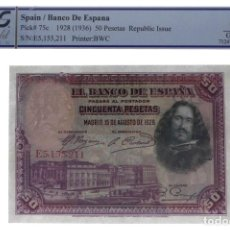 Billetes españoles: SPAIN P75 50 PESETAS 1928 REPUBLIC ISSUE GRADED PCGS 66 CHOICE GEM UNC OPQ R10129. Lote 195475357
