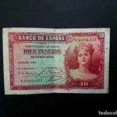 Billetes españoles: BILLETE DE 10 PTAS DE 1935 .. .. .. ..ES EL DE LAS FOTOS. Lote 195516571