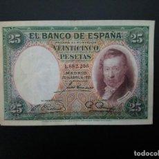Billetes españoles: BILLETE DE 25 PTAS DE 1931 .. .. .. ..ES EL DE LAS FOTOS. Lote 195516726
