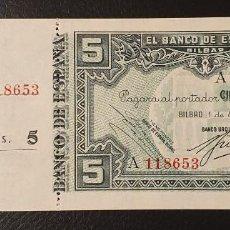 Billetes españoles: BILLETE 5 PESETAS 1937 BILBAO NUMERADO . Lote 195526121