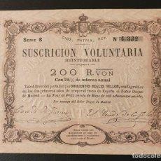Billetes españoles: BILLETE 200 REALES DE VELLON 1870 TOUR DE PEILZ. Lote 195526298