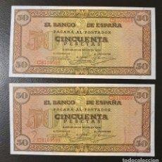 Billetes españoles: PAREJA CORRELATIVA 50 PESETAS 1938 BURGOS. Lote 195526516