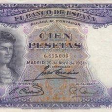 Billetes españoles: BILLETE: 100 PESETAS 25 ABRIL 1931 REPUBLICA ESPAÑOLA. Lote 195689823