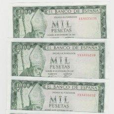 Billetes españoles: 1000 PESETAS- 19 DE NOVIEMBRE DE 1965- 4 BILLETES CORRELATIVOS -SIN CIRCULAR. Lote 195782227