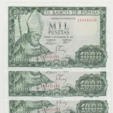 Billetes españoles: 1000 PESETAS- 19 DE NOVIEMBRE DE 1965- 6 BILLETES CORRELATIVOS -SIN CIRCULAR. Lote 195782432