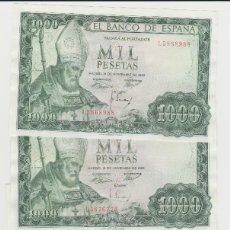 Billetes españoles: 1000 PESETAS- 19 DE NOVIEMBRE DE 1965- 4 BILLETES-SIN CIRCULAR. Lote 195784000