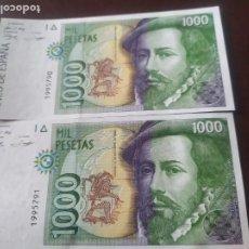 Billetes españoles: PAREJA BILLETES 1000 PTAS AÑO 1992 SIN SERIE S.C. Lote 196270785