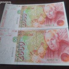 Billetes españoles: PAREJA BILLETES 2000 PTAS DE 1992 SIN SERIE Y S.C. Lote 196271445