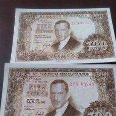 Billetes españoles: PAREJA DE BILLETES DE 100 PTAS. DE 1953. Lote 196271808