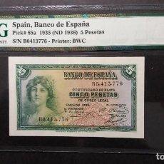Billetes españoles: PMG BILLETE DE 5 PESETAS 1935 SERIE B PMG 67 EPQ SIN CIRCULAR. Lote 196284507