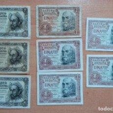 Billetes españoles: LOTE DE 8 BILLETES 1 PESETA. 1951 Y 1953. ALGUNOS SIN CIRCULAR. Lote 196289515