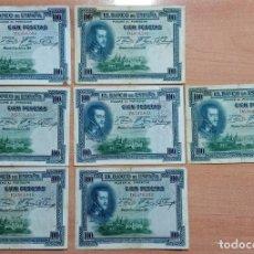 Billetes españoles: LOTE DE 7 BILLETES 100 PESETAS 1925. Lote 196293416