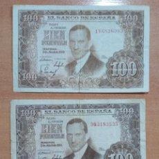Billetes españoles: LOTE DE 3 BILLETES 100 PESETAS 1953. Lote 196293596