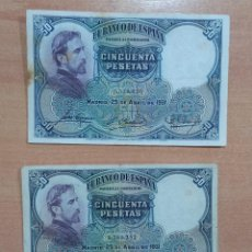 Billetes españoles: LOTE DE 2 BILLETES 50 PESETAS 1931. Lote 196293775