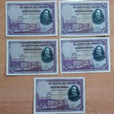 Billetes españoles: LOTE DE 5 BILLETES 50 PESETAS 1928. Lote 196293896
