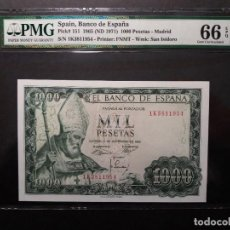 Billetes españoles: PMG BILLETE 1000 PESETAS DE 1965 OBISPO SAN ISIDORO SERIE 1K PMG 66 EPQ. Lote 196294096