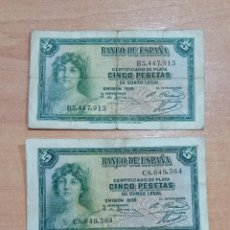 Billetes españoles: LOTE DE 3 BILLETES 5 PESETAS 1935. Lote 196294116