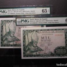 Billetes españoles: PMG BILLETES 1000 PESETAS DE 1965 OBISPO SAN ISIDORO PAREJA SERIE Z PMG 65-66 EPQ. Lote 196294483