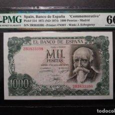 Billetes españoles: PMG BILLETE DE 1000 PESETAS 1971 SERIE 2B PMG 66 EPQ SIN CIRCULAR CERTIFICADO. ECHEGARAY. Lote 196311387