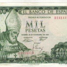 Billetes españoles: BILLETE DE 1000 PTAS. EMISION 19-11-1965 IMAGEN SAN ISIDORO. Lote 196928803
