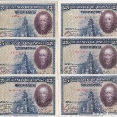 Billetes españoles: SERIE COMPLETA DE 6 BILLETES DE 25 PESETAS DEL AÑO 1928 CON TODAS LAS SERIES: SS-A-B-C-D-E. Lote 197288362