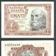 Billets espagnols: 1 PESETA DE 1953 SERIE C SIN CIRCULAR PLANCHA PERFECTA. Lote 197646583