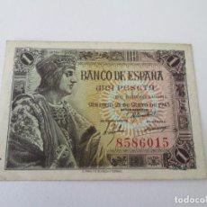 Billetes españoles: BILLETE * 1 PESETA 21 DE MAYO DE 1943 * SIN SERIE S/C. Lote 197739498