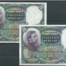 Billetes españoles: PAREJA CORRELATIVA 50 PESETAS 1931 ROSALES S/C- MUY ESCASA RARISIMA. Lote 198221813