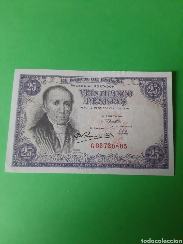 1946 MADRID 19 FEBRERO BANCO ESPAÑA 25 PESETAS SERIE G 03720495 EBC (Numismática - Notafilia - Billetes Españoles)