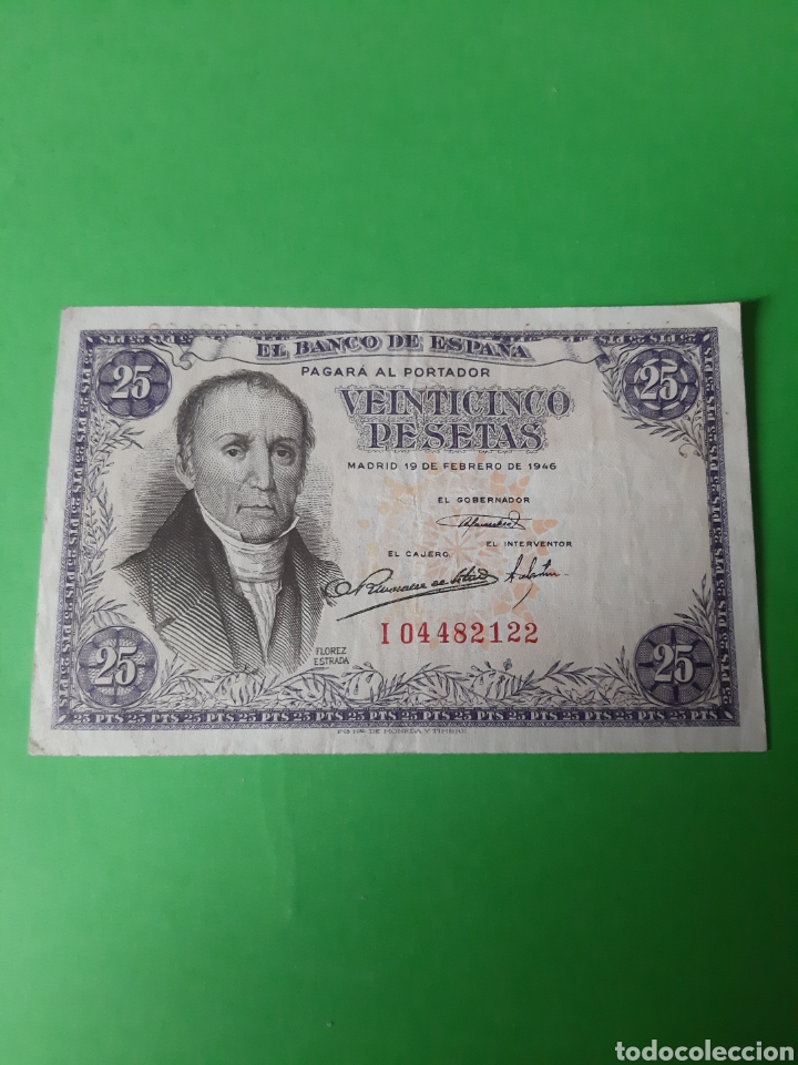 1946 19 FEBRERO BANCO ESPAÑA 25 PESETAS FLORES ESTRADA SERIE I 04482123 (Numismática - Notafilia - Billetes Españoles)