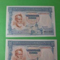 Billetes españoles: PLANCHA RARO PAREJA CORRELATIVA SERIE A 4320619/20 31 AGOSTO 1936 25 PESETAS SOROLLA PINTOR. Lote 198316755