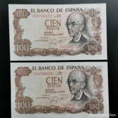 Notas espanholas: PAREJA CORRELATIVA BILLETES CIEN PESETAS - 100 PTAS 1970 - MANUEL DE FAYA - SERIE 7B - SIN CIRCULAR. Lote 198637242