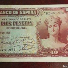 Billetes españoles: BILLETE ANTIGUO DE 10 PESETAS 1935 BANCO DE ESPAÑA. Lote 198719348