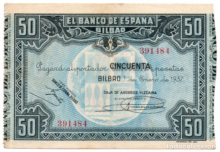 50 PESETAS BILBAO 1 ENERO 1937 CAJA DE AHORROS VIZCAÍNA MBC+ (Numismática - Notafilia - Billetes Españoles)
