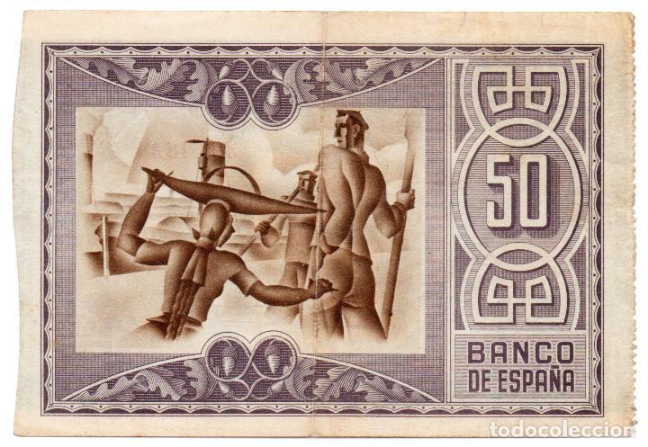 Billetes españoles: 50 pesetas Bilbao 1 Enero 1937 Caja de ahorros Vizcaína MBC+ - Foto 2 - 198723562