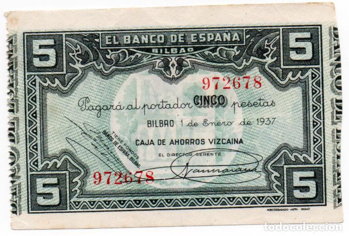 5 PESETAS BILBAO 1 ENERO 1937 CAJA DE AHORROS VIZCAÍNA EBC (Numismática - Notafilia - Billetes Españoles)