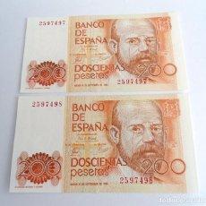 Billetes españoles: PAREJA CORRELATIVA BILLETE 200 PESETAS - ESPAÑA 1980 - LEOPOLDO CLARIN - SIN SERIE Y SIN CIRCULAR. Lote 198765146