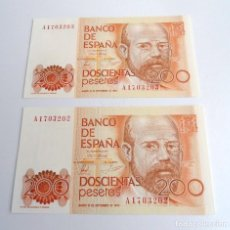 Billetes españoles: PAREJA CORRELATIVA BILLETE 200 PESETAS - ESPAÑA 1980 - LEOPOLDO CLARIN - CON SERIE A Y SIN CIRCULAR. Lote 198765667