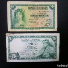 Billetes españoles: LOTE DE 2 BILLETES DE 5 PTAS .... .. ..ES EL DE LAS FOTOS. Lote 198911926