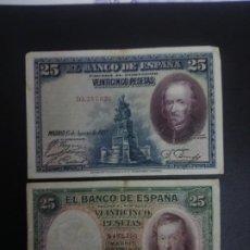 Billetes españoles: LOTE DE 2 BILLETES DE 25 PTAS .... .. ..ES EL DE LAS FOTOS. Lote 198912043