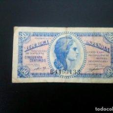Billetes españoles: BILLETE DE 50 CÉNTIMOS DE 1937.. .. .. ..ES EL DE LAS FOTOS. Lote 198912362
