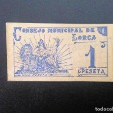 Billetes españoles: BILLETE DE 1 PTA DE 1937 CONSEJO MUNICIPAL DE LORCA.. GUERRA CIVIL . .. .. ..ES EL DE LAS FOTOS. Lote 198912486